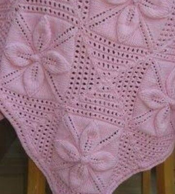 Baby Traditional Blanket/Pram Cover Knitting Pattern Squares Leaves