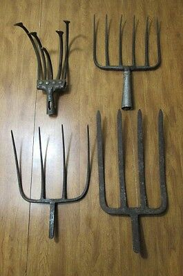 4 Vintage Garden Cultivator Plow Rake Heads 4 5 and 6 Tine Forks