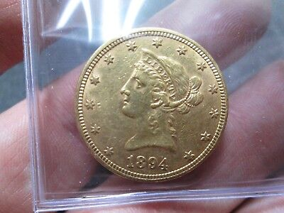1894 10 Dollar Liberty Gold Coin In About Uncirculated Condition