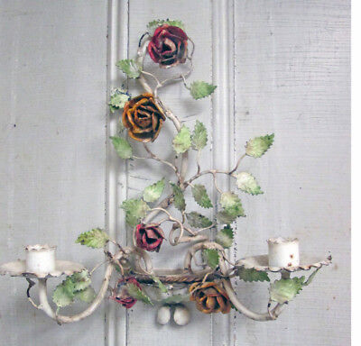 Vintage Italian Tole Candle Sconce Chippy Gorgeous Shabby Chic