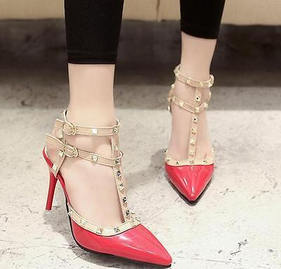 Women's Pointed Toe Rivet Stilettos Sandals Ankle Strap Buckle High Heels Shoes