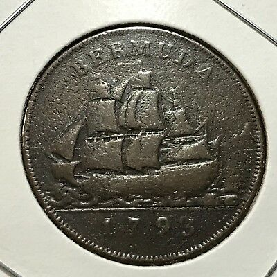 1793 Bermuda One Penny Sailing Ship Better Grade Rare  Coin