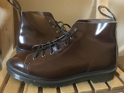 Mens DR MARTENS LES Boots Dark Tan Boanil Leather GENEROUS 8 42 Made in  England e8e91341452b