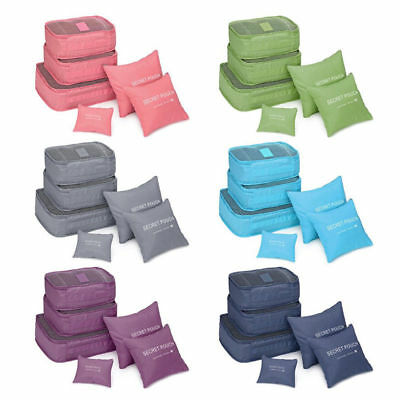 6PCS Lots Waterproof Travel Clothes Storage Bags Organizer Pouch Packing Luggage