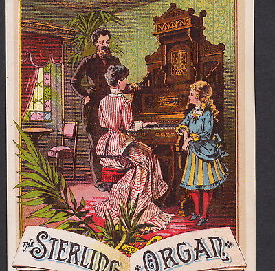 Sterling Piano Organ 1800's Victorian Parlor Recital old Advertising Trade Card