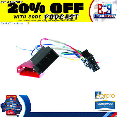 Aeropro Pioneer To Iso Connector Plug Harness 16 Pin For DEH-S4050BT Wiring Loom