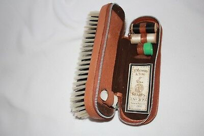 vintage sewing kit in leather cased clothes brush zip compartment vgvc