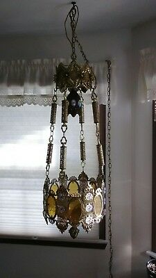 LARGE RARE! ANTIQUE VINTAGE ART DECO Ceiling Light Fixture CHANDELIER