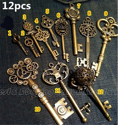 HOT Lot of 12 Antique Old look Vintage Key DIY Large Royal Skeleton Key Decor TP