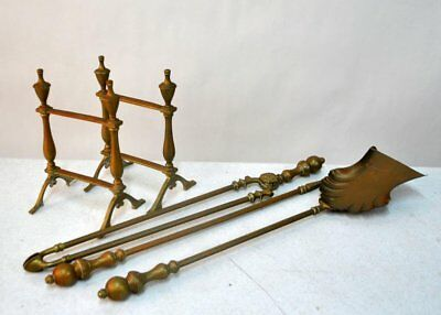 Antique British Bronze Andirons/Stands & Matching 3 Piece Fireplace Tool Set