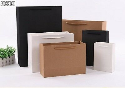 3/5/50 x Kraft Brown& Black&White  Paper Carry Bags with Handle Shopping Gift