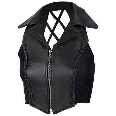 NWT Ladies Solid Black Leather Braided Cross Hatch Bike Motorcycle Vest S SMALL