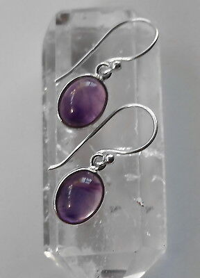 315A Amethyst gemstone solid 925 sterling silver earrings rrp$39.95