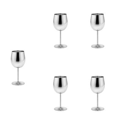 Metal Wine Champagne Drinks Cups Glasses Goblets for Home Bar Party 5pcs