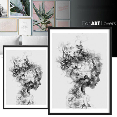 Modern Nordic Decor Black White Girl Poster Canvas Painting Wall Art Picture