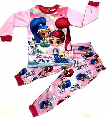 New 2-7 Pyjamas Pj Shimmer And Shine Pjs Girls Winter Sleepwear Kids Tshirt Tees