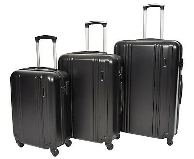 Hard Shell ABS 4 Wheel Spinner Suitcase Travel Trolley Luggage Lightweight Black