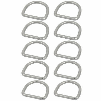 1 3/5-inch Inner Width 304 Stainless Steel D Welded Ring Silver Tone 10pcs