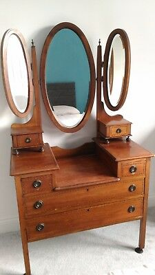 Victorian Triple Bevel edged Mirror Dressing Table - In Yorkshire