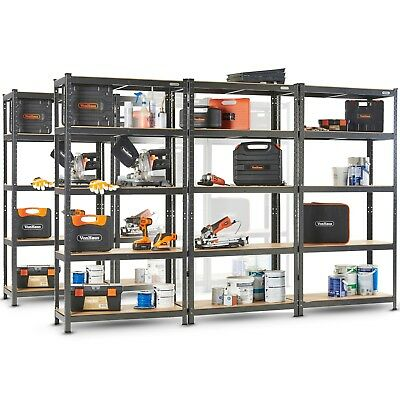 VonHaus 5 Tier Garage Shelving - Metal Racking, Steel & MDF, Boltless Shelves