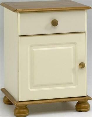 Richmond cream and pine 1 door 1 drawer bedroom solid spacious bedside cabinet