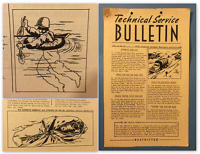 WW2 WWII Technical Service BULLETIN TRAINING - U.S Army Rare RESTRICTED 1943