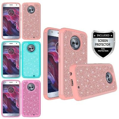 For Motorola Moto X4 (X 4th Gen) Hybrid Glitter Bling Grid Case Cover + Screen