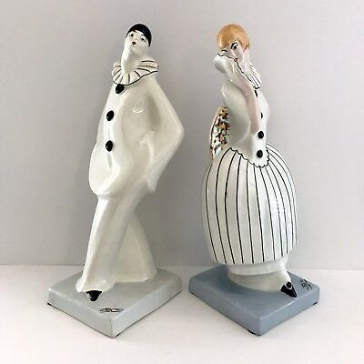 DAX French Art Deco Porcelain Pierrot and Columbine Clowns Ca.1920