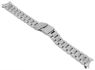 Wrist Watch Band Stainless Steel Solid with Folding Clasp - Curved End Links