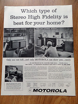1958 Motorola Stereo Ad  High Fidelity One-Unit Two Unit Stereo System