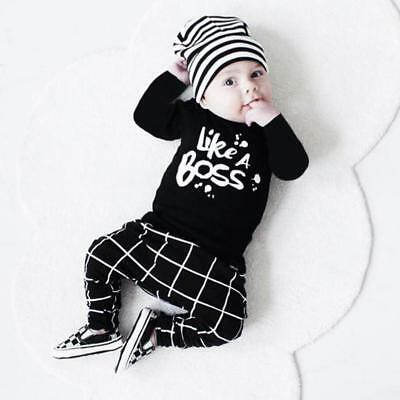 Toddler Baby Boys Outfit Long Sleeve T-shirt Tops+Pants Trousers Set 3-24 Months
