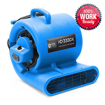 Carpet Dryer Air Mover 3 Speed 1/3 HP Blower Fan GFCI Outlets - Industrial Blue