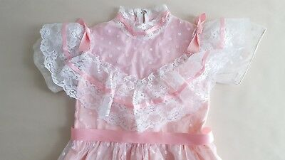 16cfbd705 VINTAGE 80'S GIRLS Flower Girl Dress JC Penney 7 Pink and Lace Dot ...