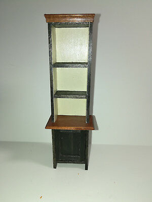 Dollhouse Miniature Handmade Kitchen Country Cupboard Cabinet 1:12 Scale Black