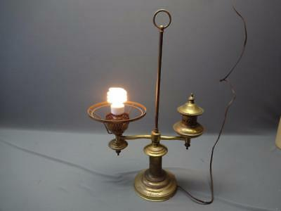 Antique Brass College Student Desk Oil Lamp Converted Electric Library Light