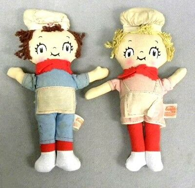 Two Vintage Campbell Soup Kids Stuff Dolls. Made by Knickerbocker Toys