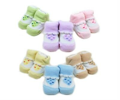 Socks Girls Baby Shoe Booties Shower Gift 6 / Pack Hearts One Size Newborn NWT