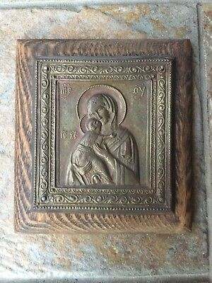 Antique Russian Madonna and Child Plaque Icon  Embossed Metal on Wood Plaque
