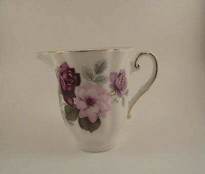 Royal Grafton Creamer Purple & Pink Roses Ribbed Pattern Bone China