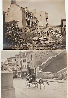 Orig Photo LOT of 2 - Street Scene Stores Signs  1907 - Quebec City Canada IDd