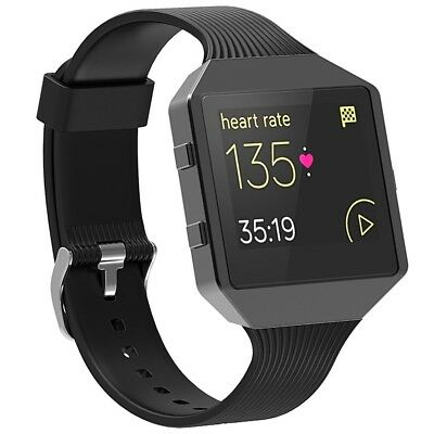 For Fitbit Blaze Band with Frame,SnowCinda Sport Silicone Black Soft Strap with