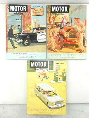 3 Issues MOTOR MAGAZINE Jun Sep 1961 Mar 1964 Automobile CAR Advertisements  T23