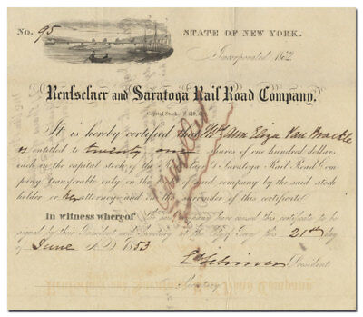 Rensselaer and Saratoga Rail Road Company Stock Certificate (Dated 1853)