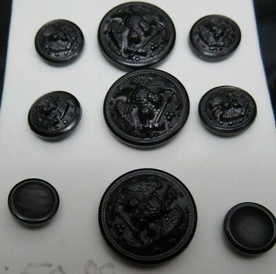 WWII Black Resin US Navy Set of 9 Coat Buttons w/ EAGLE Facing Right Shoulder
