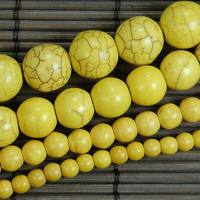"""Yellow Howlite Turquoise Gemstone Round Spacer Beads 15.5"""" 4mm 6mm 10mm 12mm"""