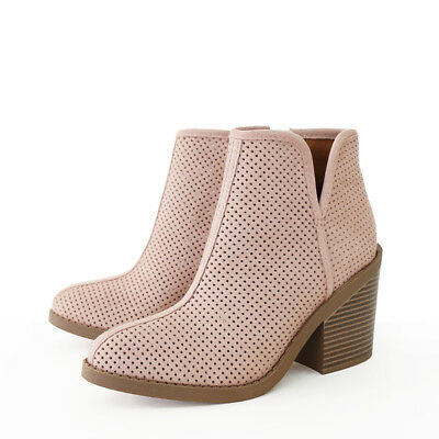 Western Vibe Whipstitch Perporated Faux Suede Alexia Ankle Boots Booties