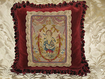 DRAMATIC 19TH c FRENCH NEEDLEPOINT TAPESTRY PILLOW ~PORTRAIT OF WOMAN