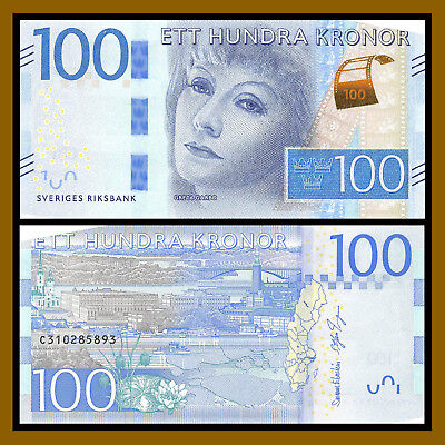Sweden 100 Kronor, ND 2016 P-71 Redesigned Greta Garbo Unc