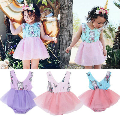 UA Stock Cute Toddler Baby Girl Clothes Unicorn Tulle Dress Skirt Romper Outfits