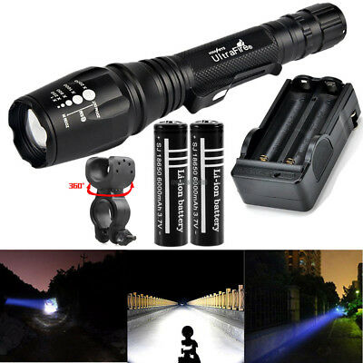 UltraFire 10000LM XML T6 Flashlight Torch Lamp Zoom Adjust+18650 Battery Charger